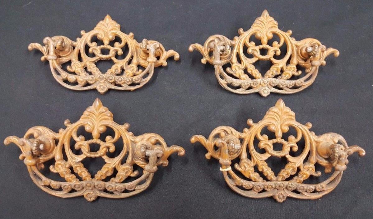 Architectural Salvage Ornate Victorian Filigree Brass Drawer Pulls Set of 4