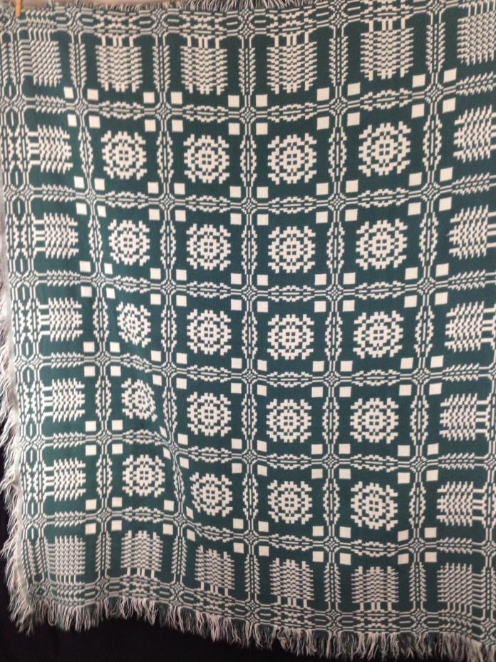 Southwest Tribal Native Style Throw 55x47 Green Ivory Woven Blanket Reversible