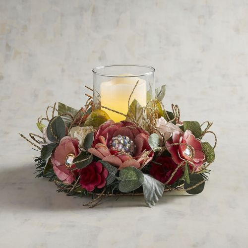 Valentine's Day Faux Pink Floral Hurricane Candle Holder
