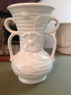 Vtg large matte white Shawnee vase embossed flower with loop handle 7-1/2