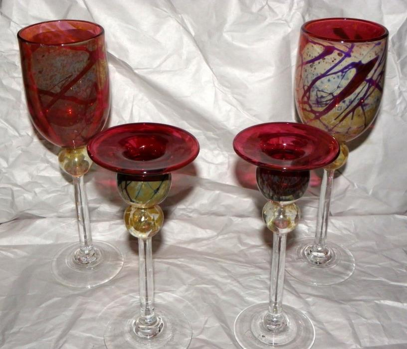 4 pc Signed Matching Flute Glass's & Candle Stick Holders Set