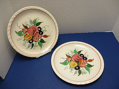 Blue Ridge Pottery Mid Century USA Dixie Harvest 2 Dinner Plates Piecrust