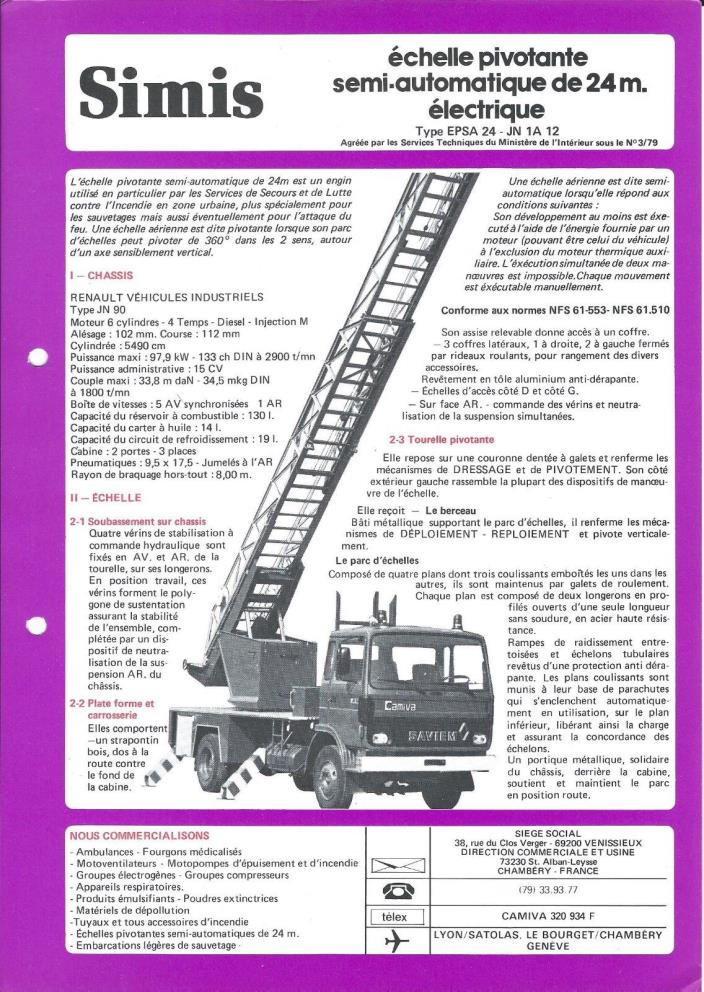 Fire Equipment Brochure - Simis - 24 m Ladder Truck Renault JN90 FRENCH (DB321)