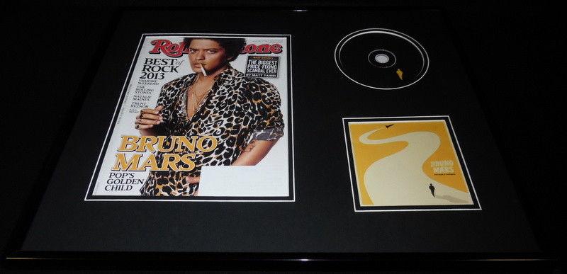 Bruno Mars 16x20 Framed 2016 Doo Wops & Hooligans CD & Rolling Stone Display