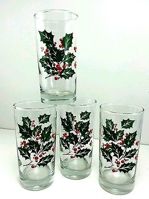 Bartlett Collins Christmas Holiday Glasses Holly Leaves Berries Set Of 4