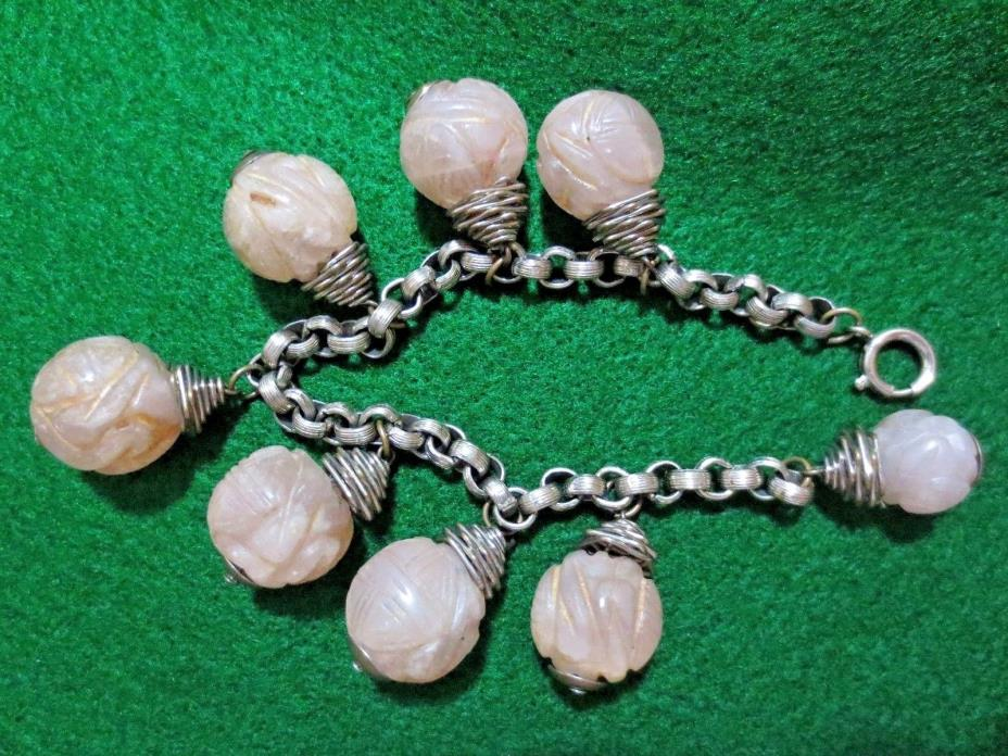 Old Asian Silver Chain Bracelet Hand Carved Rose Amethyst Quartz Charms Craft