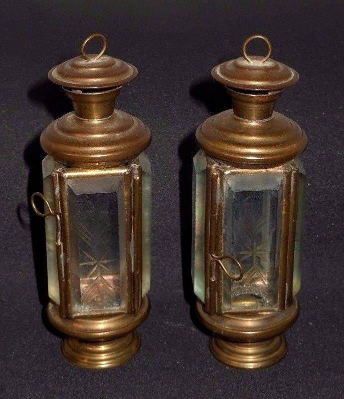 Superb Pair Miniature Beveled Glass Christmas Candle Lamp Holder Ornaments
