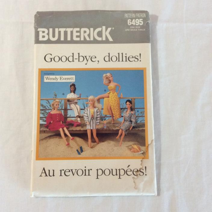 Butterick Sewing Pattern 6495 Good-bye Dollies Barbie Doll Clothes CUT Vintage