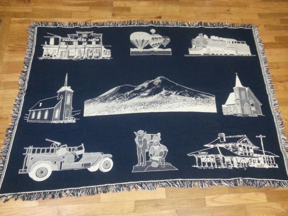 Woven Tapestry  Afghan Throw Blanket Church Fire Truck Train Farmer Donkey Couch