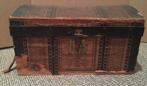 Antique Doll Trunk Salesman Sample Dome Topped Trunk Chest
