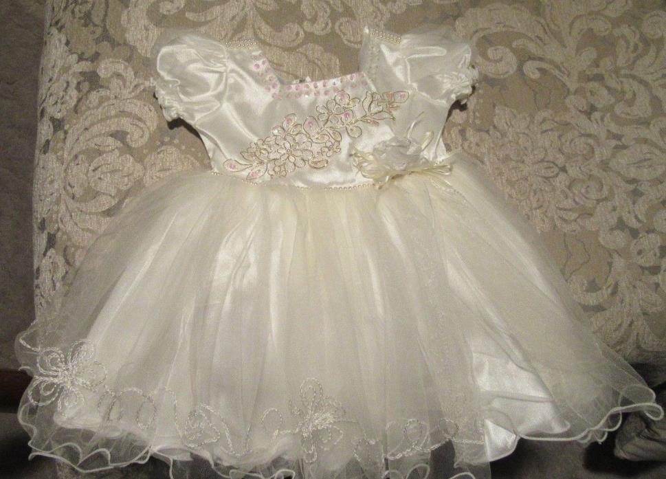 Girls Le le  Ivory Sequin Satin Pearled Chiffon Dress NWT SZ 3