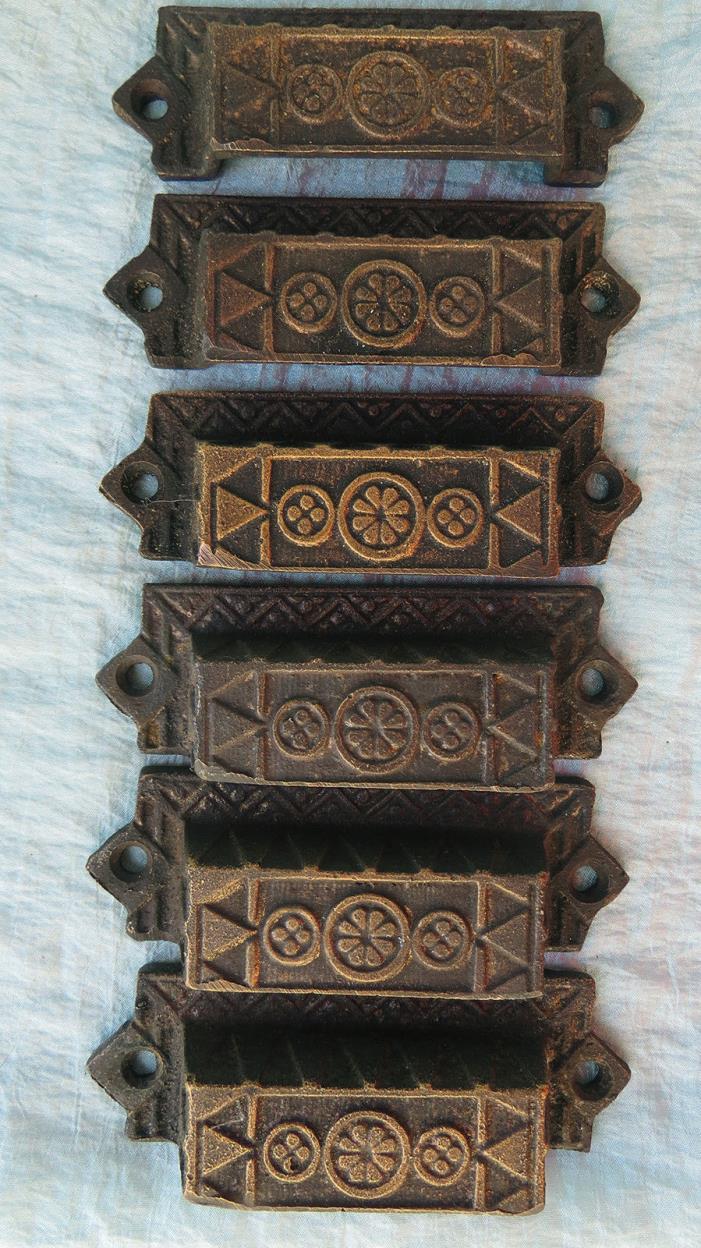 6 CAST BRONZE Old Vintage Antique EASTLAKE AESTHETIC Ornate Drawer BIN PULLS