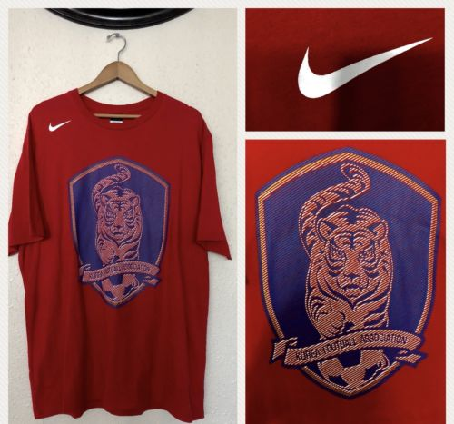 NEW!  Nike KOREA Football Association Red Short Sleeve Soccer T Shirt Size XXL
