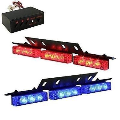 18 X Blue Red Emergency Light Bar Vehicle Car Deck Grille Warning Strobe Lights