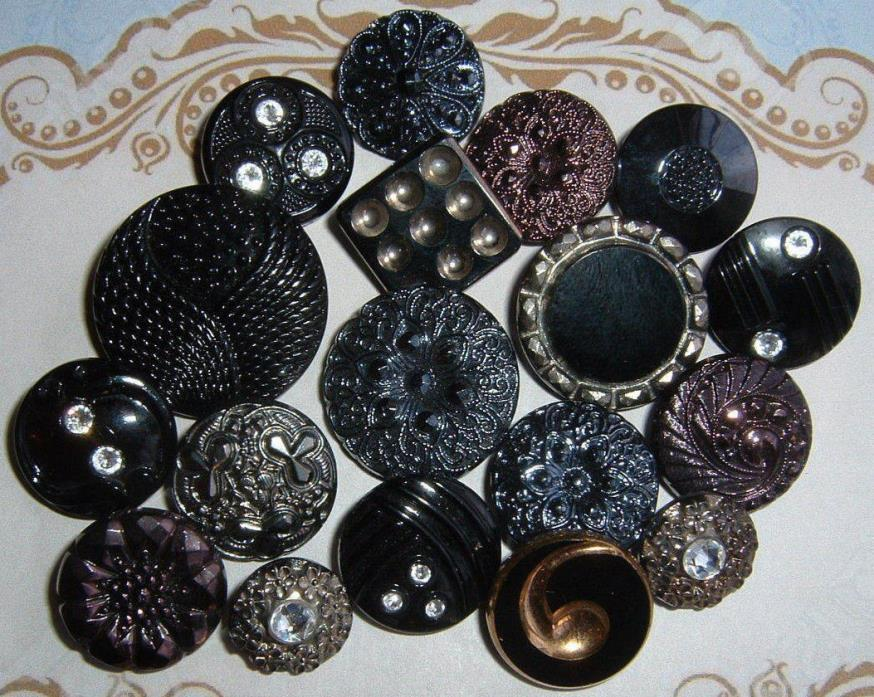 LOT OF 18 FANCY VINTAGE GLASS BUTTONS-GOLD COPPER SILVER LUSTER RHINESTONES