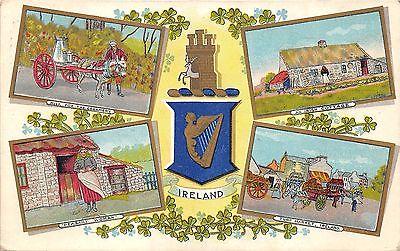 Ireland~Horse Drawn Milk Wagon~Irish Cottage~Peasant Woman~Turf Market~1911