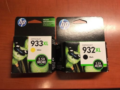 Genuine HP 932XL/933 Ink Cartridges Black & Yellow Brand New & Sealed