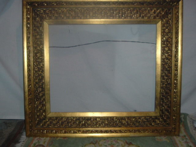 Antique Gold leaf, Wood and Gesso picture frame, 19 1/4