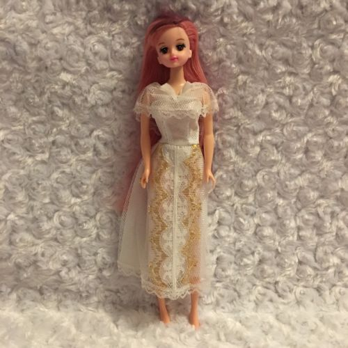 Mimi Doll Korean White Fancy Dress Gown Wedding Rainbow Pink Green Purple Hair