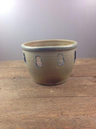 Rowe Pottery Works 1998 Salt Glazed Stoneware Candle Snowman Xmas Bowl Blue