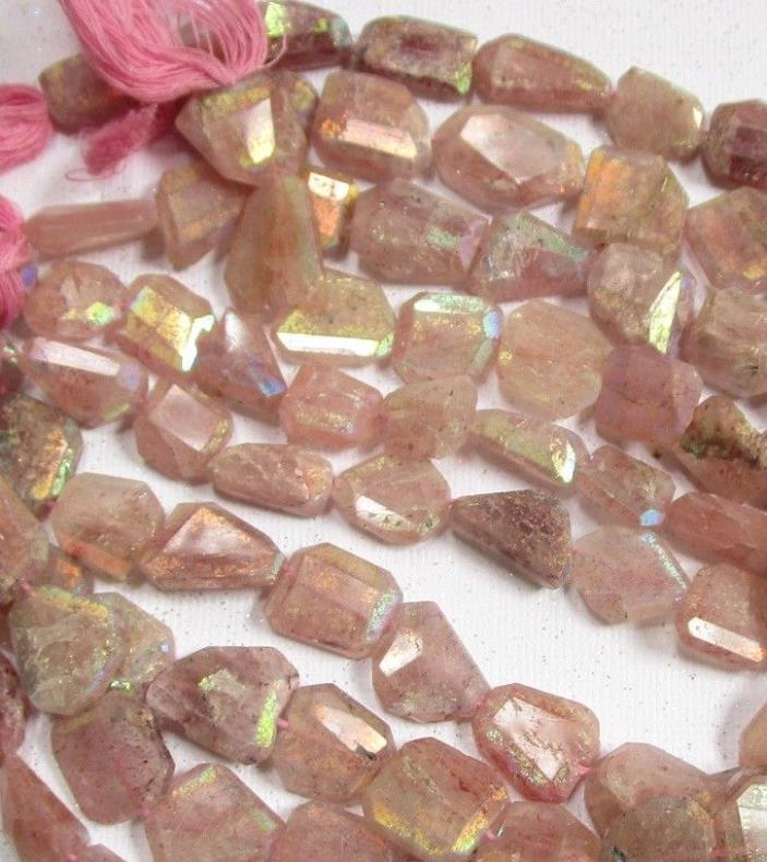 Natural Pink Strawberry Quartz Mystic Beads Slice Nuggets, 10mm 12mm 14mm 18mm