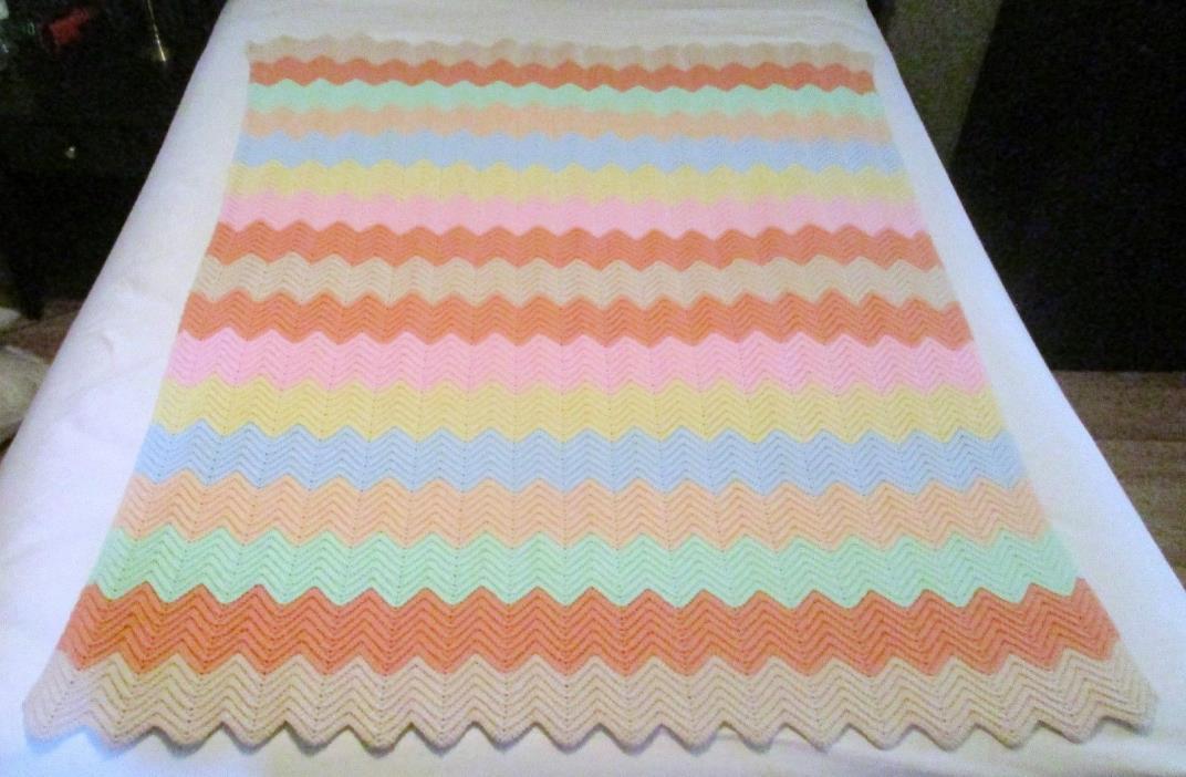 Crocheted Ripple Afghan Handmade  Warm Afghan Throw Blanket