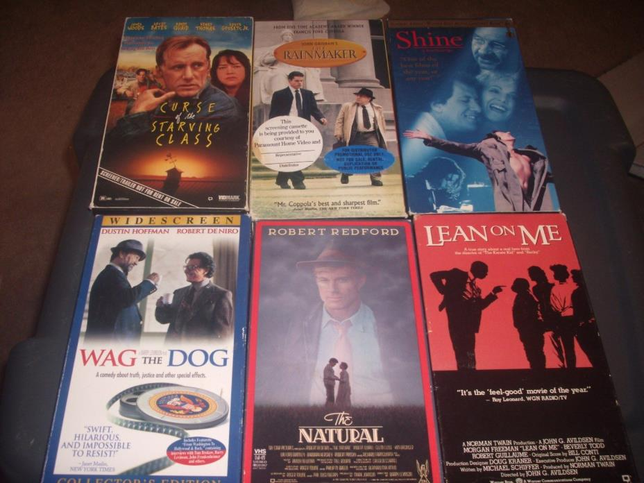 VHS TAPE MOVIE LOT OF 6 THE HATURAL,WAG THE DOG,LEAN ON ME,SHINE