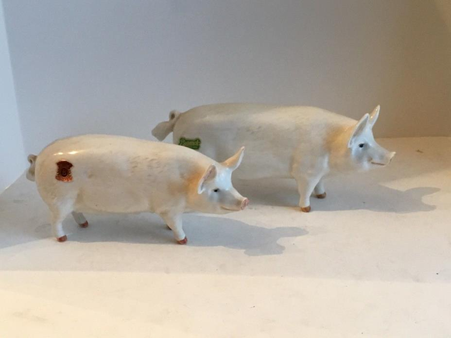Vintage Pair Beswick Pigs Boar/Sow Champions No damage