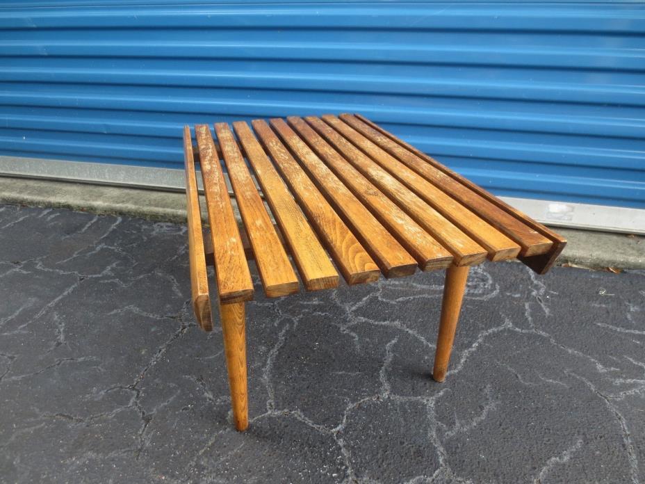 Bench Mid Century Modern Wooden Slats Danish Neslon SRY Eames Era Slat MCM