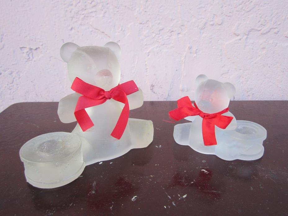 2 Frosted glass bears with red bows candle holders for sale by owner!!!