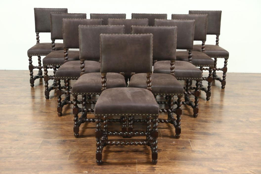 Set of 12 Oak Antique Spiral Leg Spanish Dining Chairs, New Leather Upholstery