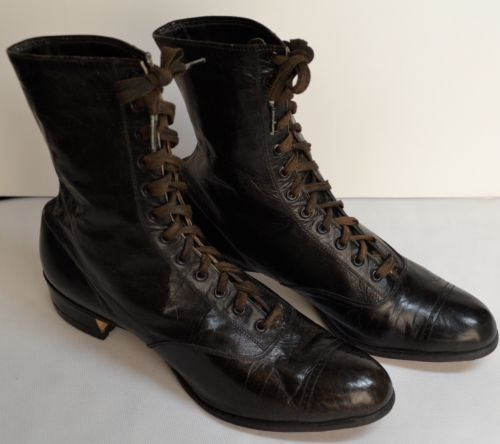 Women's Antique Victorian Black Leather High Top Lace Shoes Boots~VERY GOOD PLUS