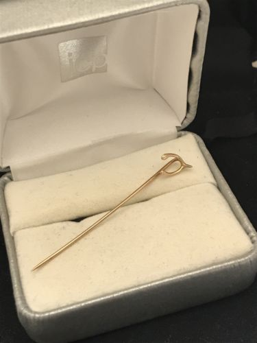Vintage 10K Gold Wishbone Tie or Lapel Pin By PFS