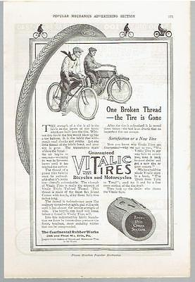Vintage, Original, 1914 - Vitalic Tires Advertisement - Bicycles & Motorcycles