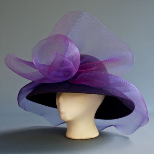 VTG Eggplant Purple Wool Hat Stiff Net Bow Fascinator Church Derby Ascot Wedding