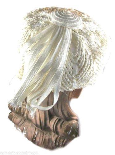 Vintage Mod Church Hat Womens Tall White Straw Toque Pillbox Style 1960S