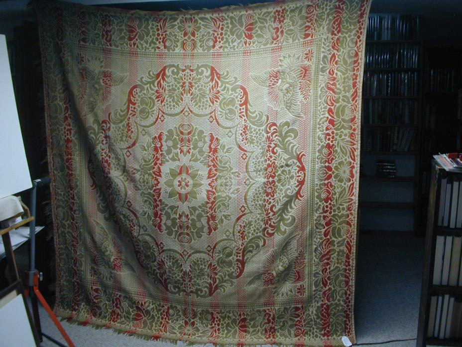 Antique 19th Century Jacquard Loom Coverlet With Eagles, 82