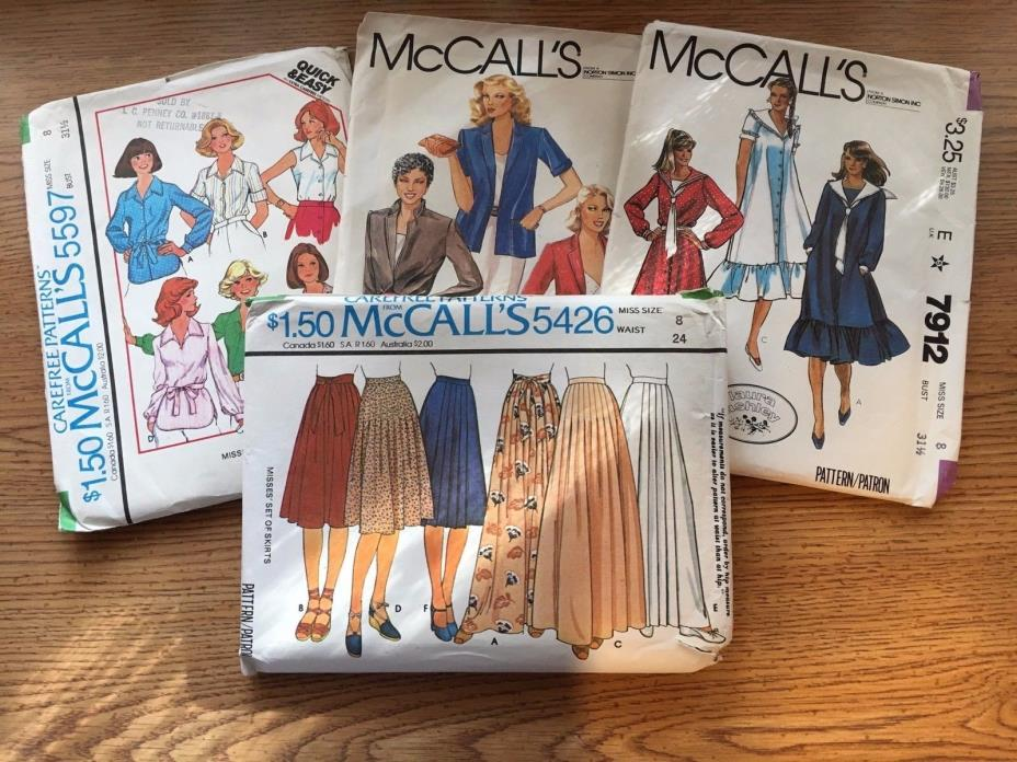Mixed Lot of 4 McCall's Sewing Patterns  #5426, #5597, #6493, #7912