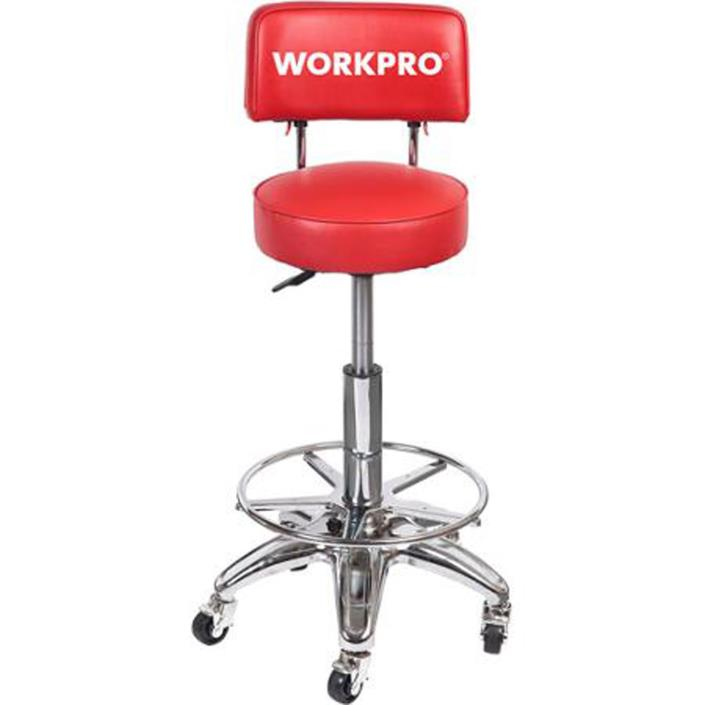Shop Stool With Adjustable Height Rolling Back Wheels Garage Heavy Duty Work