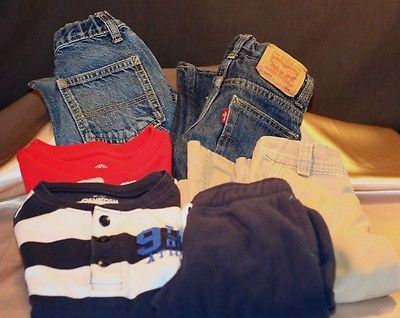 Boy's Lot of 6  2 Jeans 2 Shirts  1 Fleece & 1 Cargo Pants Size 5