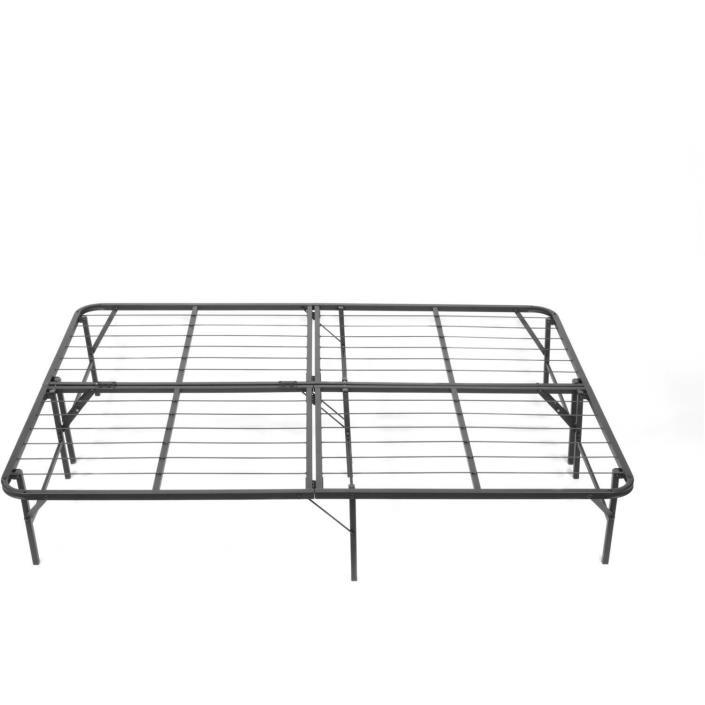 Black Platform Bed Frame King Size Kids Bedroom Furniture Simple Base Bi Fold