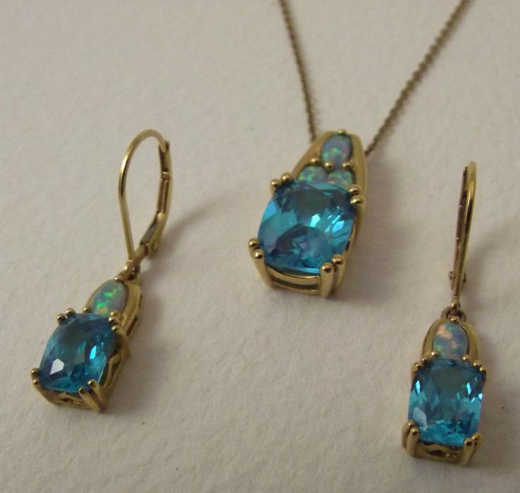 Blue Rhinestone Opal Gold Plated Sterling Silver Pendant and Earring Set Necklac