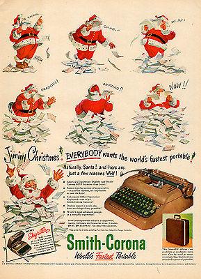 1950 vintage Christmas AD SMITH CORONA Portable Typewriter brown  061115