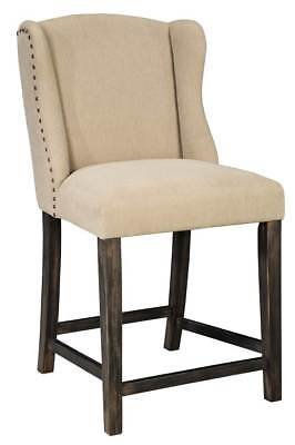 Upholstered Counter Stool in Light Beige Finish - Set of 2 [ID 3466272]