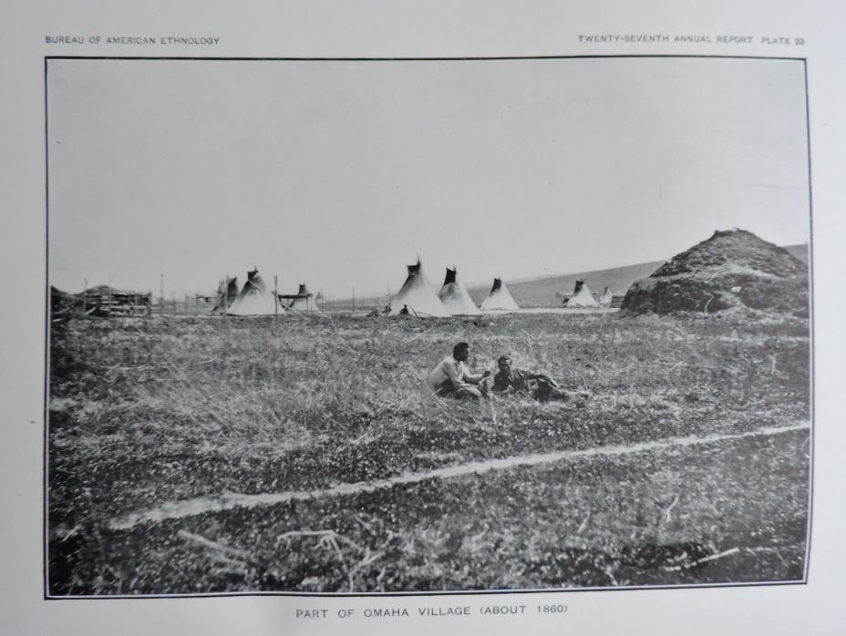 Part of Omaha Village (About 1860) Native American Ethnology Art Print 1911
