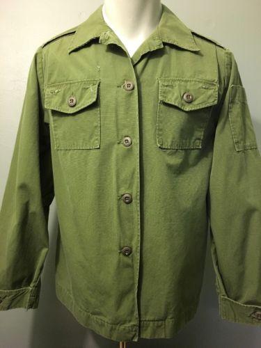 Vtg Womens Vietnam US Army Shirt Jacket Poplin Ripstop Cotton Military Uniform