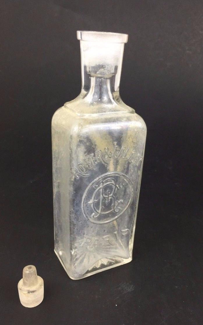 Antique ROGER & GALLET Perfume Glass BOTTLE & STOPPER Paris, France 19th Century