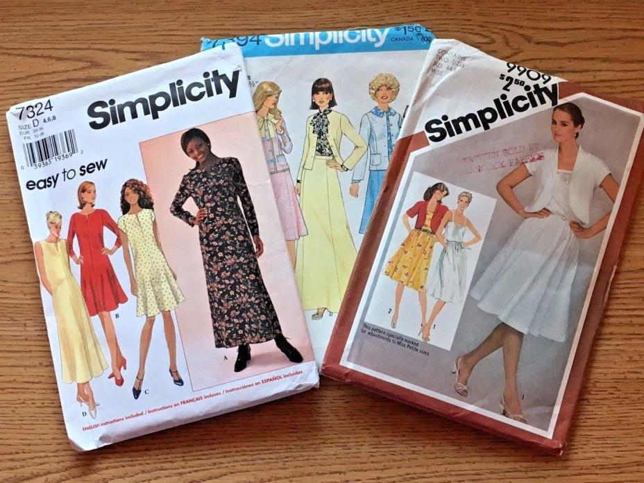 Lot of 3 Simplicity Sewing Patterns for Dresses #7324, #7394, #9909 size 6 & 8
