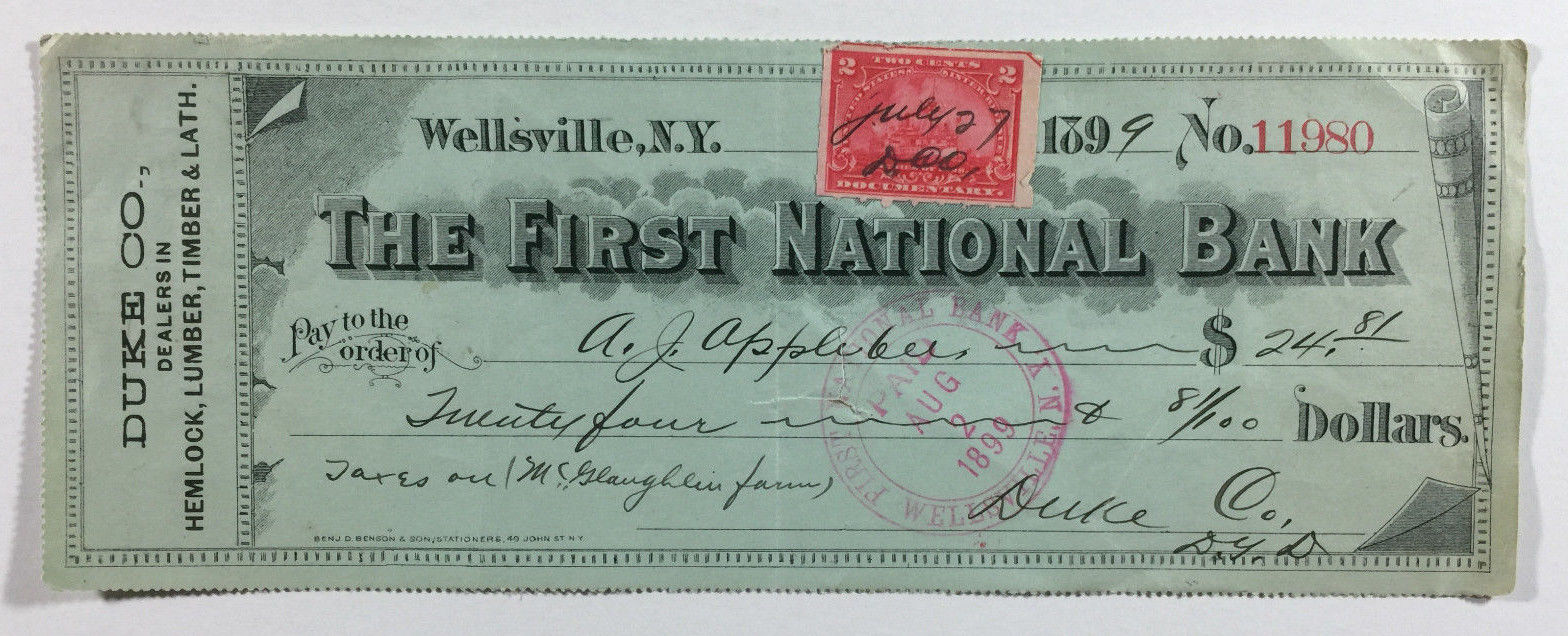 Antique Bank Check, The First National Bank, Wellsville NY, Duke Co. Lumber 1899