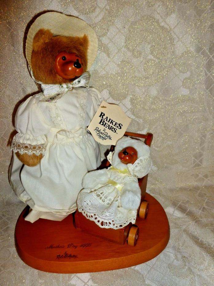 Robert Raikes Signed Wooden Bears Mother's Day Collection 1990